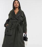 Asos DESIGN Curve brushed utility coat in khaki