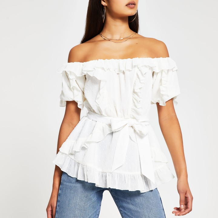 Thumbnail for your product : River Island Womens White short sleeve soft frill bardot top