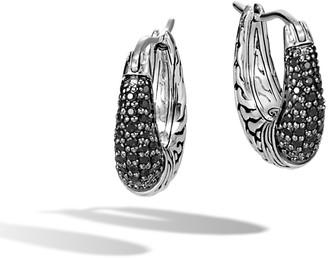 John Hardy Classic Chain Arch Hoop Earrings w/ Black Sapphire & Spinel