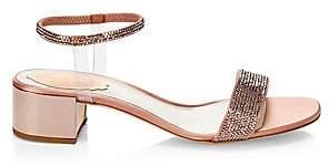 Rene Caovilla Women's Crystal-Embellished Block Heel Sandals