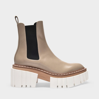 Stella McCartney Platform Boots In Beige Synthetic Leather