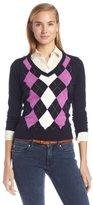 Caribbean Joe Women's Petite V-Neck Argyle Pullover Sweater