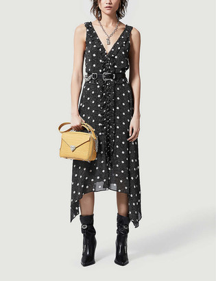 The Kooples Polka-dot woven midi handkerchief dress