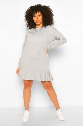 boohoo Plus Loopback Ruffle Sweat Dress