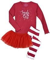 Sara's Prints Girls' Ruffle Edged Snug Fit Pajama with Matching Tutu Set