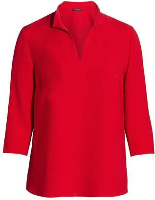 Lafayette 148 New York, Plus Size Loretta Stand Collar Blouse