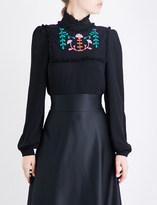 Veronique Branquinho Floral-embroidered high-neck crepe blouse