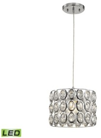 Elk Lighting Tessa 1 Light Pendant in Polished Chrome with Clear Crystal