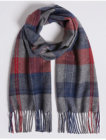 M&S Collection Overcheck Wool Woven Scarf
