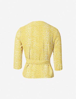 Diane von Furstenberg Halle leopard-print woven wrap-front top