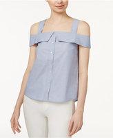 Kensie Oxford Cotton Cold-Shoulder Shirt