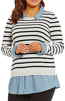 Intro Plus Striped/Indigo Long Sleeve Sweater