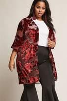 Forever 21 FOREVER 21+ Woven Heart Plus Size Floral Velvet Cardigan