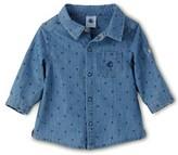 Petit Bateau Baby boy long-sleeved printed denim shirt