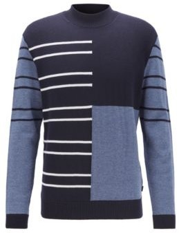 HUGO BOSS Virgin Wool Sweater With Stripes And Color Blocking - Dark Blue