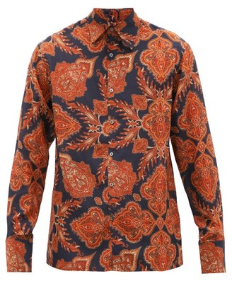 73 London - Palazzo Paisley-print Silk Shirt - Orange Multi