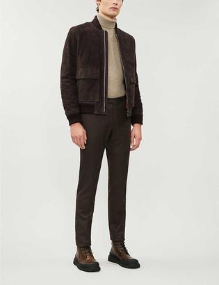 Corneliani Zip-through suede and shearling bomber jacket