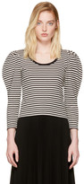 Marc Jacobs Black Striped Puff Sleeve T-Shirt