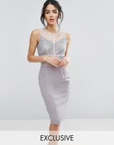 Elise Ryan Scallop Lace Pencil Dress With Contrast Panelling