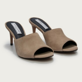 The White Company Suede Evening Mule Heels, Nude, 36