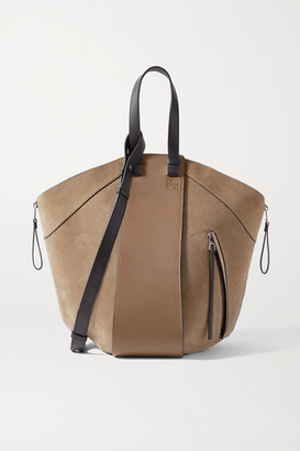 Loewe Hammock Large Paneled Leather And Suede Tote - Tan