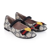 Gucci GUCCIGirls Beige & Navy Logo Shoes With Bow