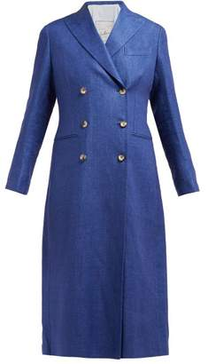 Giuliva Heritage Collection The Rose Double-breasted Linen-chambray Coat - Womens - Navy