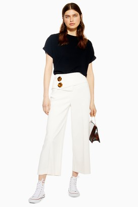 Topshop Womens Button Crop Wide Leg Trousers - Ivory