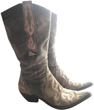 Non Signé / Unsigned Non Signe / Unsigned Khaki Leather Boots
