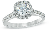 Zales 2 CT. T.W. Certified Cushion-Cut Diamond Frame Engagement Ring in Platinum (H/SI2)