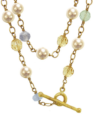 Cathy Waterman Akoya Pearl and Multi Stone Wire Wrap Necklace - Yellow Gold