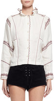 Isabel Marant Delphine Embroidered Linen Top, Ecru
