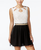 Speechless Juniors' Cutout Lace Chiffon Party Dress, A Macy's Exclusive