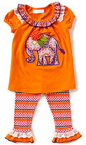 Bonnie Jean Bonnie Baby Baby Girls Newborn-24 Months Elephant Applique A-Line Dress & Stripe Leggings Set