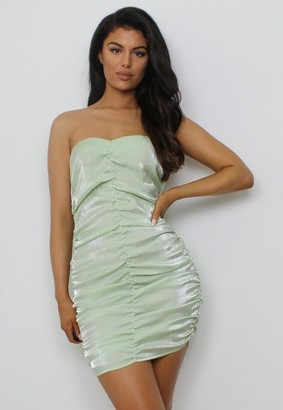 Missguided Green Satin Ruched Bandeau Mini Dress