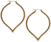 Lucky Brand Gold-Tone Tawny Crystal Spade Hoop Earrings
