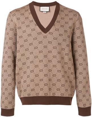 Gucci GG jacquard knit V-neck sweater