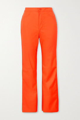 MAISIE WILEN Cropped Coated-jersey Flared Pants - Orange