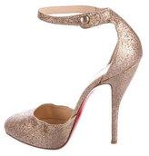 Christian Louboutin Glitter Ankle Strap Pumps
