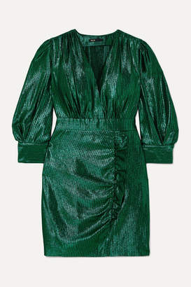 Maje Rexy Ruffled Lamé Mini Dress - Green