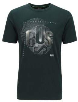 BOSS Regular-fit T-shirt with deconstructed-logo artwork