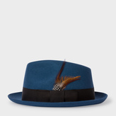 Paul Smith Men's Petrol Wool-Felt Trilby With Feather