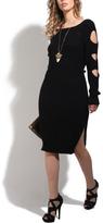 Black Cutout-Sleeve Knit Dress