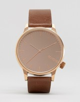 Komono Winston Mirror Leather Watch In Cognac