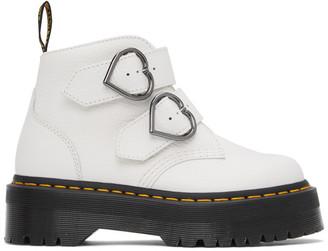 Dr. Martens White Devon Heart Platform Boots