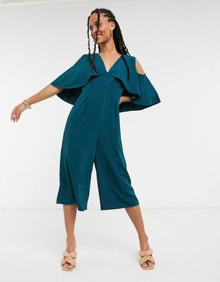 ELVI cropped cape jumpsuit in green