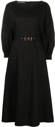 Alberta Ferretti Belted Waist Buttoned Cuff Dress