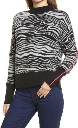 Halogen Swirl Mock Neck Sweater