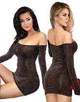 Off the Shoulder Long Sleeve Sexy Bodycon Summer Dress Mini for Woman Short Stretchy Club Gold Silver
