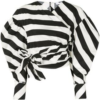 MSGM Striped Wrap Blouse